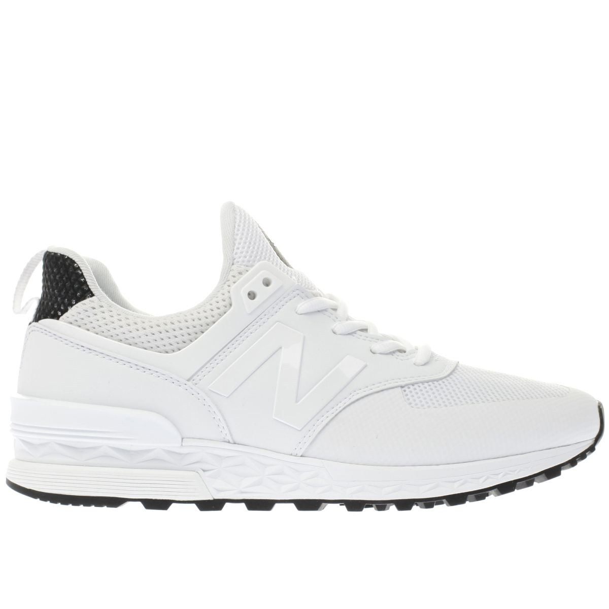 new balance white & black 574 sport trainers
