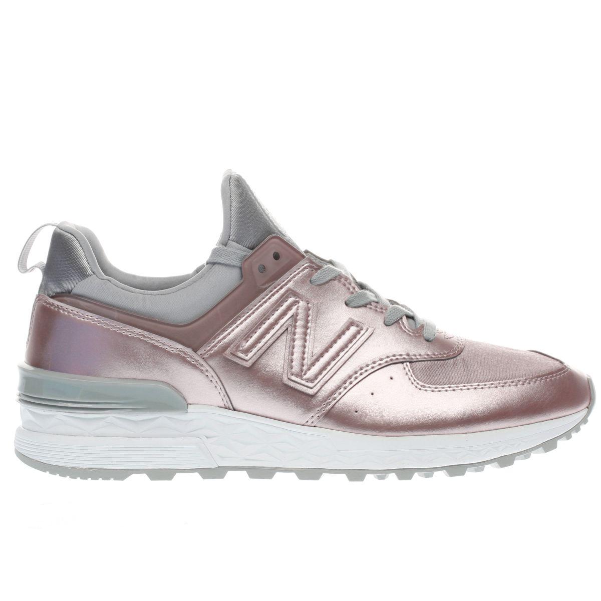 new balance rose gold 574 sport metallic trainers