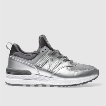 New Balance Silver 574 Sport Metallic Womens Trainers
