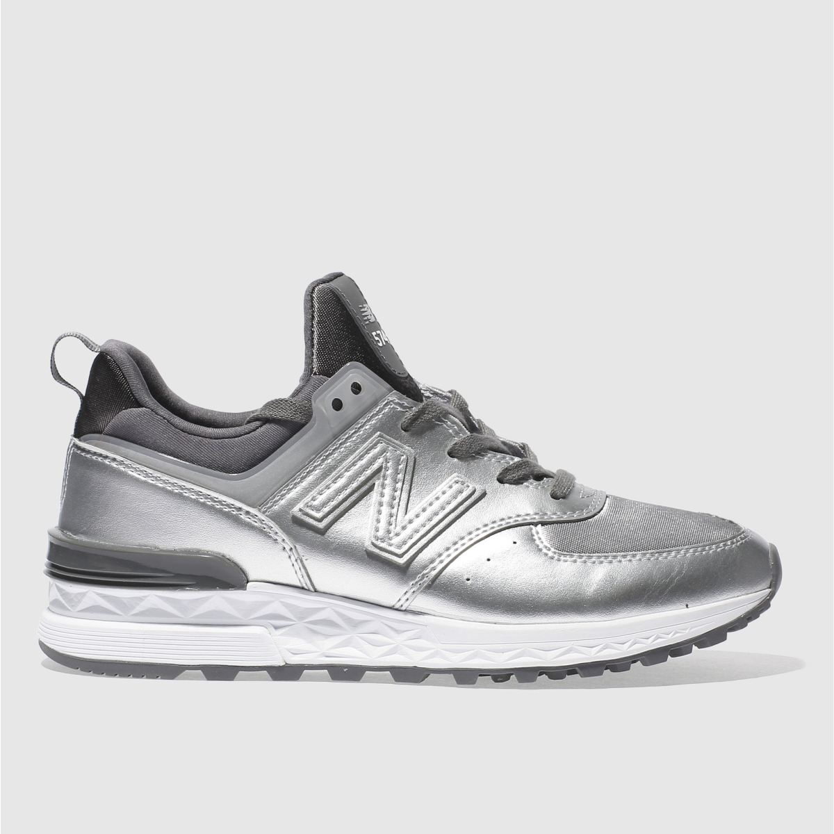 new balance silver 574 sport metallic trainers