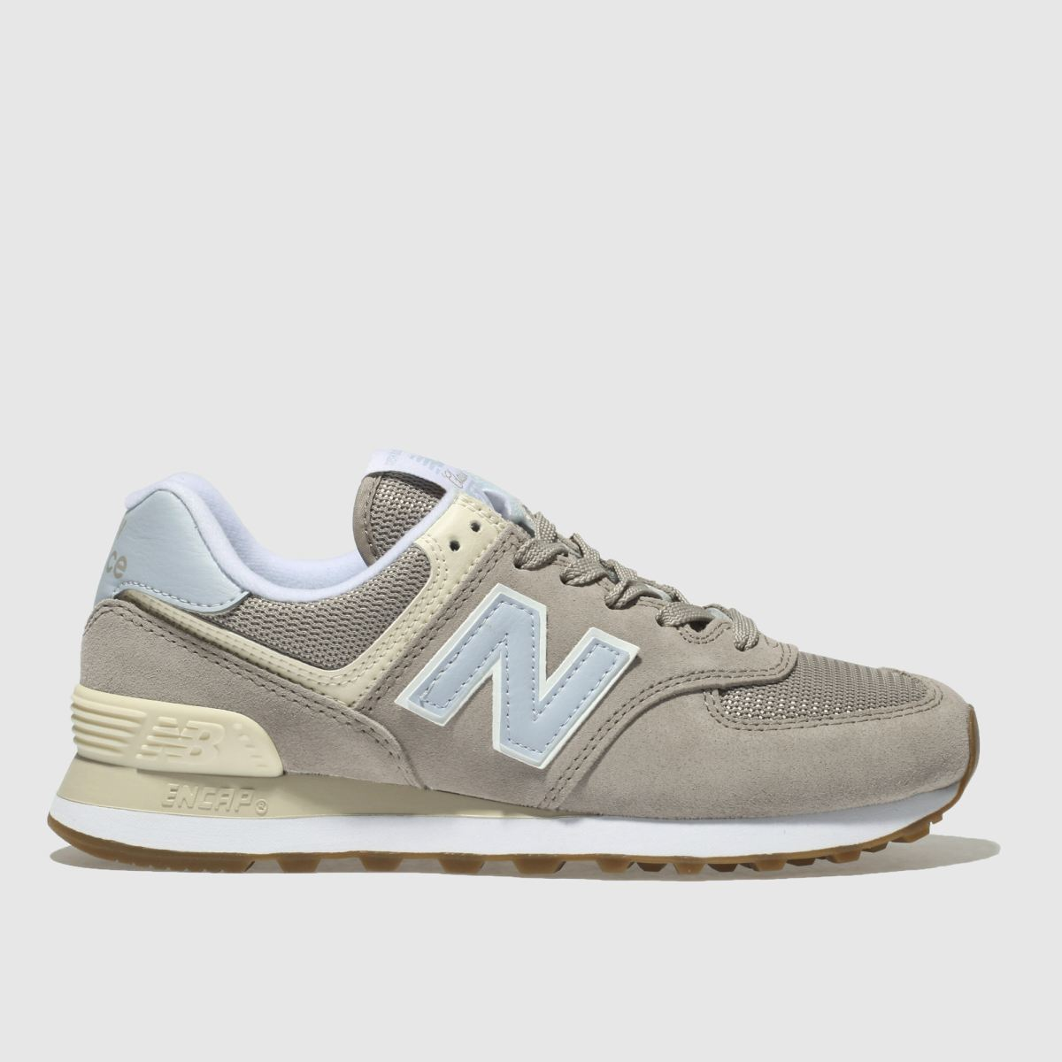 New Balance Light Grey 574 V2 Suede Trainers