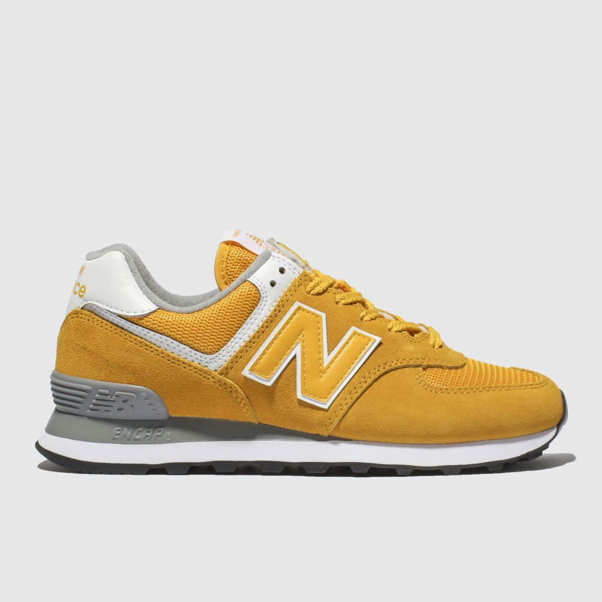 New Balance Yellow 574 V2 Suede Trainers