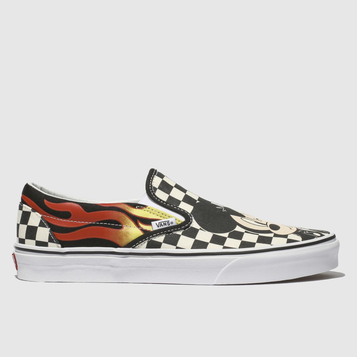 Vans Black & White Classic Slip Mickey Flame Trainers