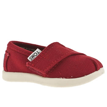 TOMS RED TINY CLASSIC BOYS BABY SHOES