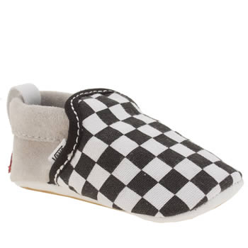 VANS BLACK & WHITE CLASSIC SLIP-ON BOYS BABY TRAINERS
