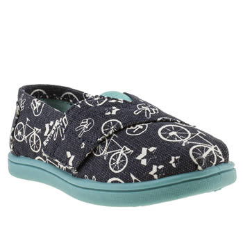 kids toms navy & white seasonal classic boots