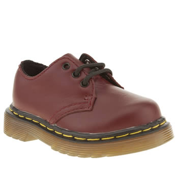 kids dr martens red colby lace shoe boots