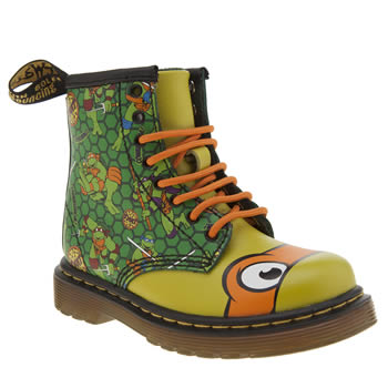 Dr Martens Green Ninja Turtles Michelangelo Unisex Toddler