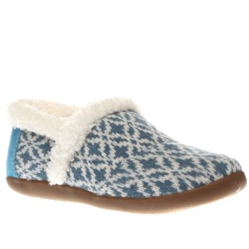 Toms White & Blue House Slipper Unisex Junior