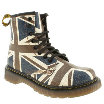 kids dr martens brown & navy delaney boots