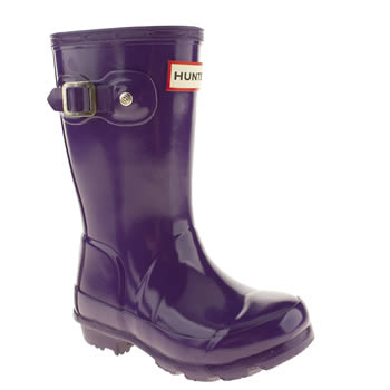 kids hunter purple original gloss boots