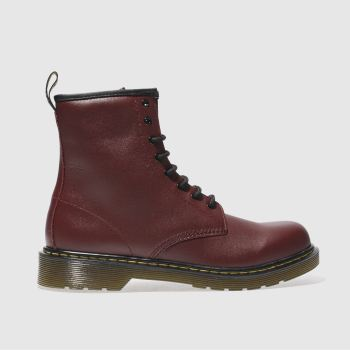 DR MARTENS RED DELANEY BOYS YOUTH BOOTS