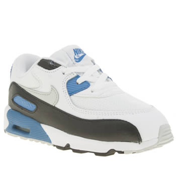 NIKE WHITE & BLUE AIR MAX 90 MESH TODDLER TRAINERS