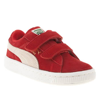 kids puma red suede classic velcro trainers
