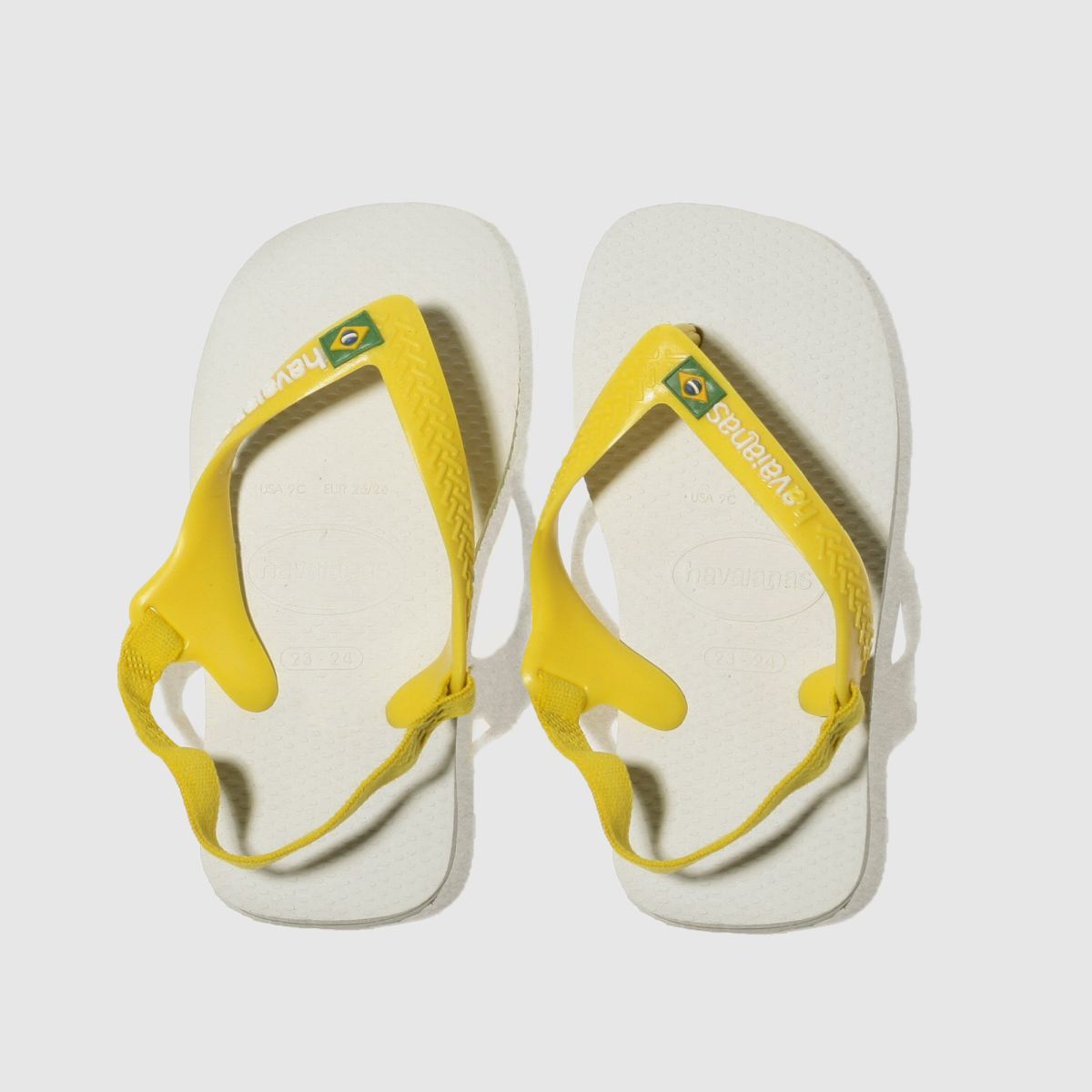 Havaianas White & Yellow Brasil Logo Ii Toddler Sandals