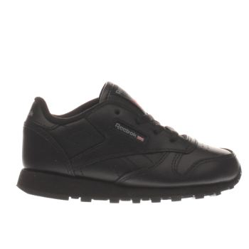 REEBOK BLACK CLASSIC LEATHER GIRLS TODDLER TRAINERS