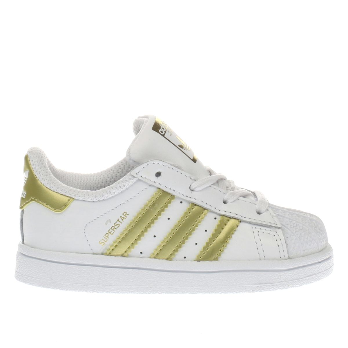 adidas white & gold superstar Toddler Trainers