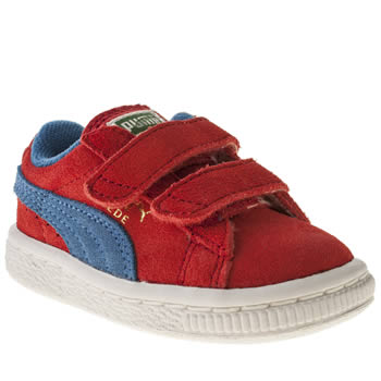 kids puma red suede classic trainers