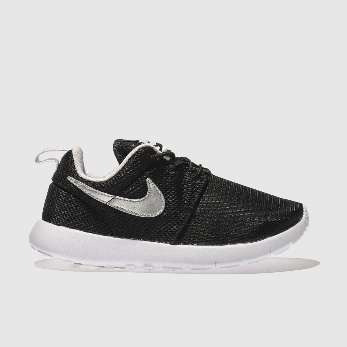 nike black & silver roshe one Boys Junior Trainers