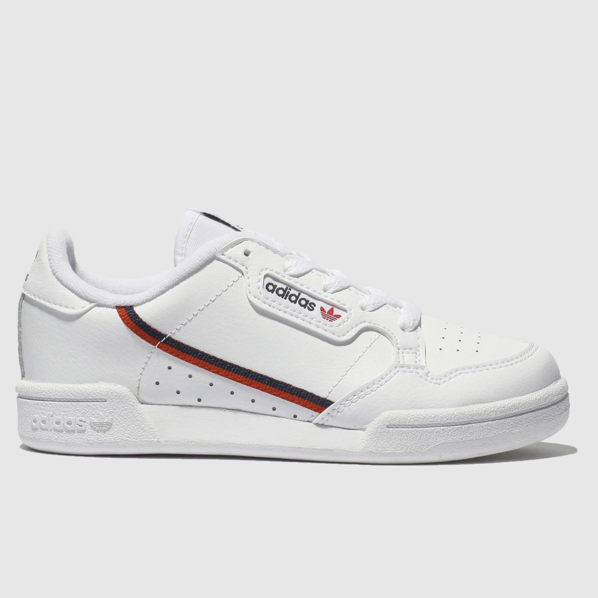 Adidas White & Red Continental 80 Trainers Junior