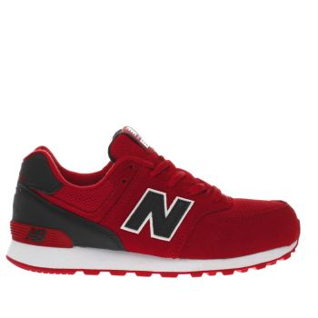NEW BALANCE RED 574 JUNIOR TRAINERS