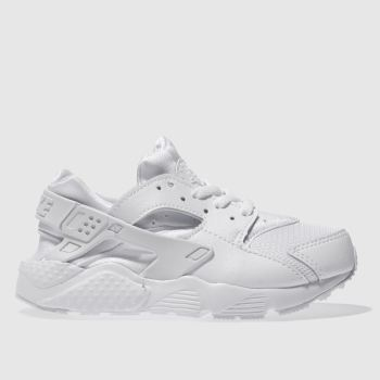 Nike White HUARACHE RUN Unisex Junior