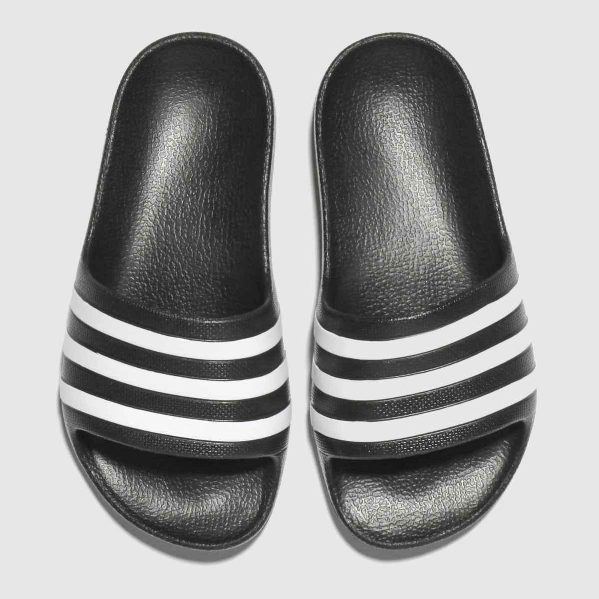 Adidas Black & White Adilette Aqua Trainers Junior