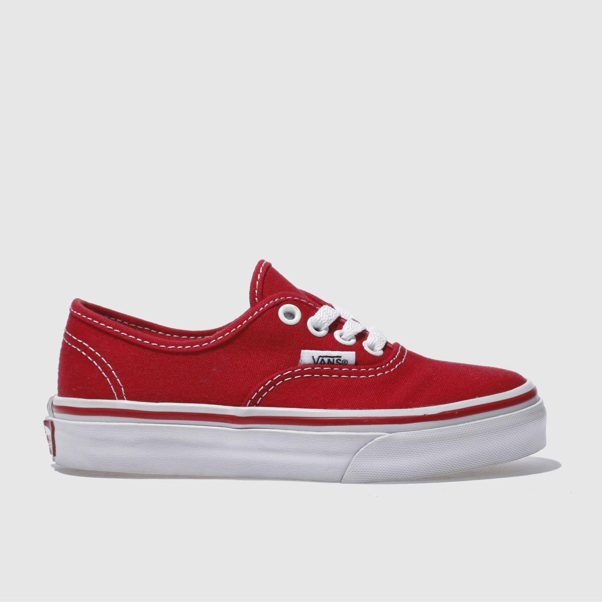 Vans Red Authentic Unisex Junior Junior