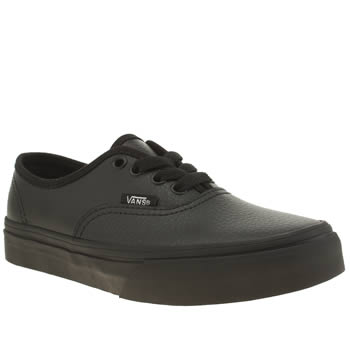 VANS BLACK AUTHENTIC BOYS JUNIOR TRAINERS
