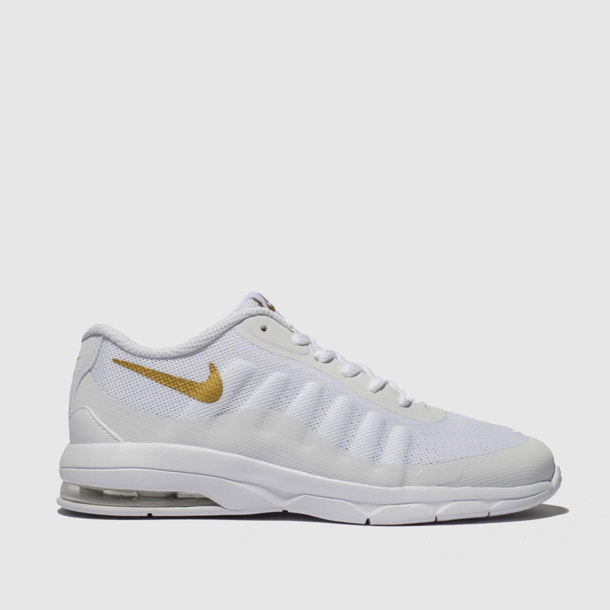 Nike White & Gold Air Max Invigor Trainers Junior