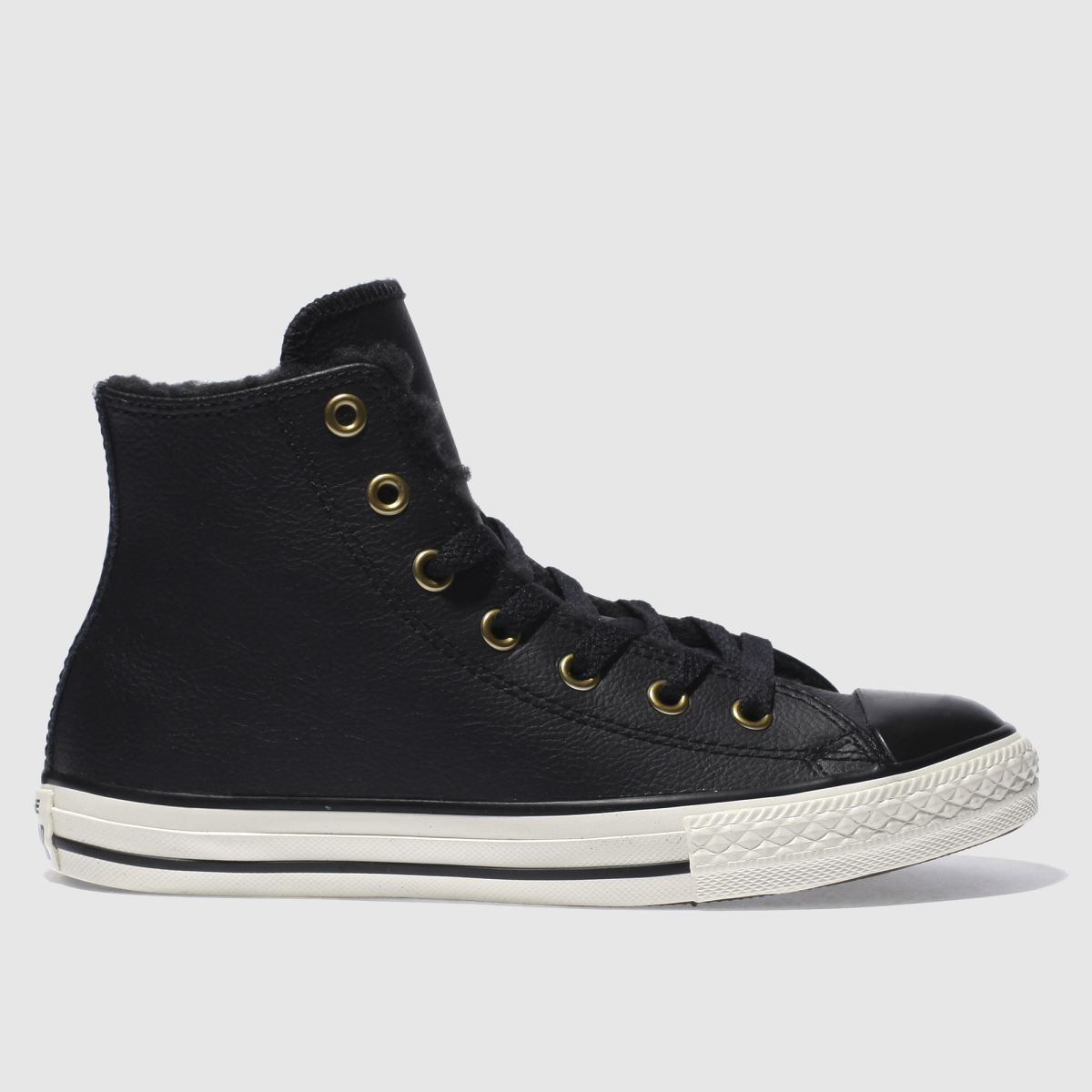 converse black all star hi shearling Junior Trainers