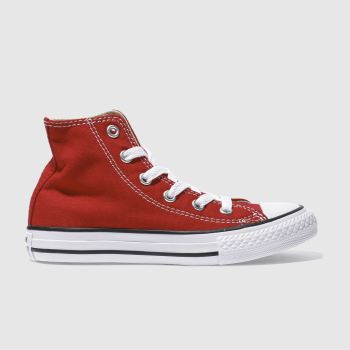 Unisex Converse Red All Star Hi Unisex Junior