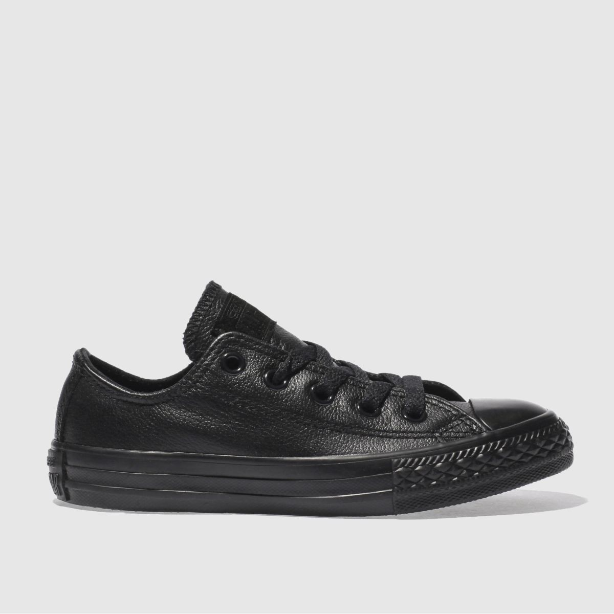 Converse Black All Star Lo Leather Trainers Junior