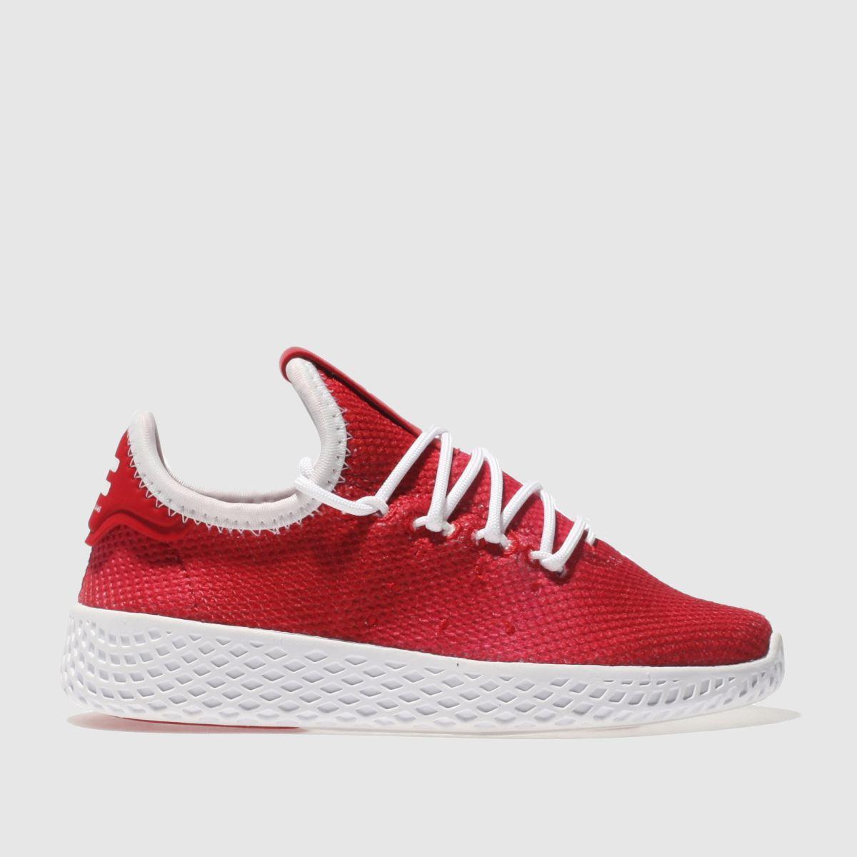 Adidas Red Tennis Pharrell Hu Holi Junior Trainers