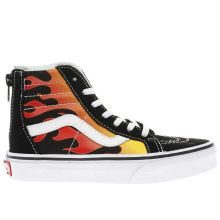 Vans Black & Red Sk8-hi Zip Flame Unisex Junior