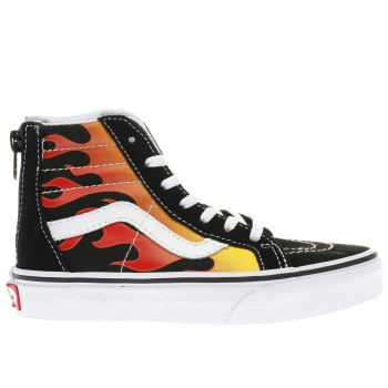 Vans Black Sk8-Hi Zip Flame Unisex Junior
