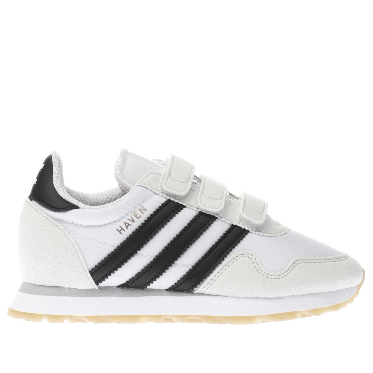 adidas white & black haven Junior Trainers
