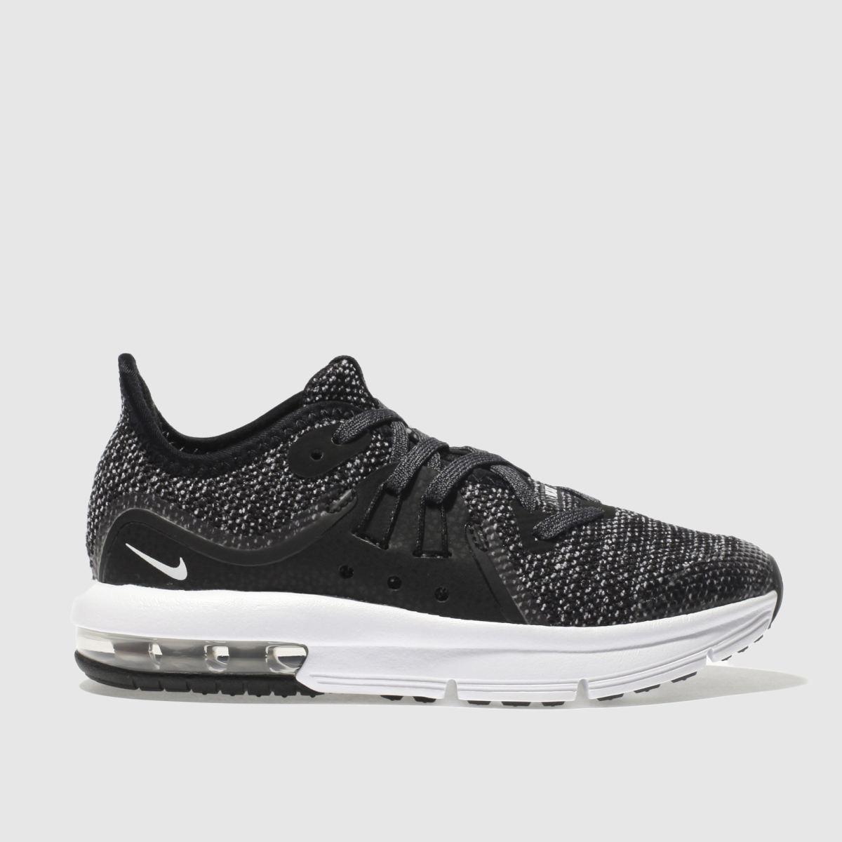 Nike Black & White Air Max Sequent 3 Junior Trainers