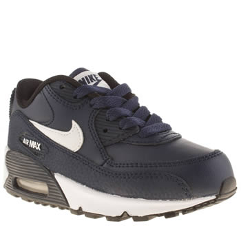 Unisex Nike Navy & White Air Max 90 Ltr Unisex Junior