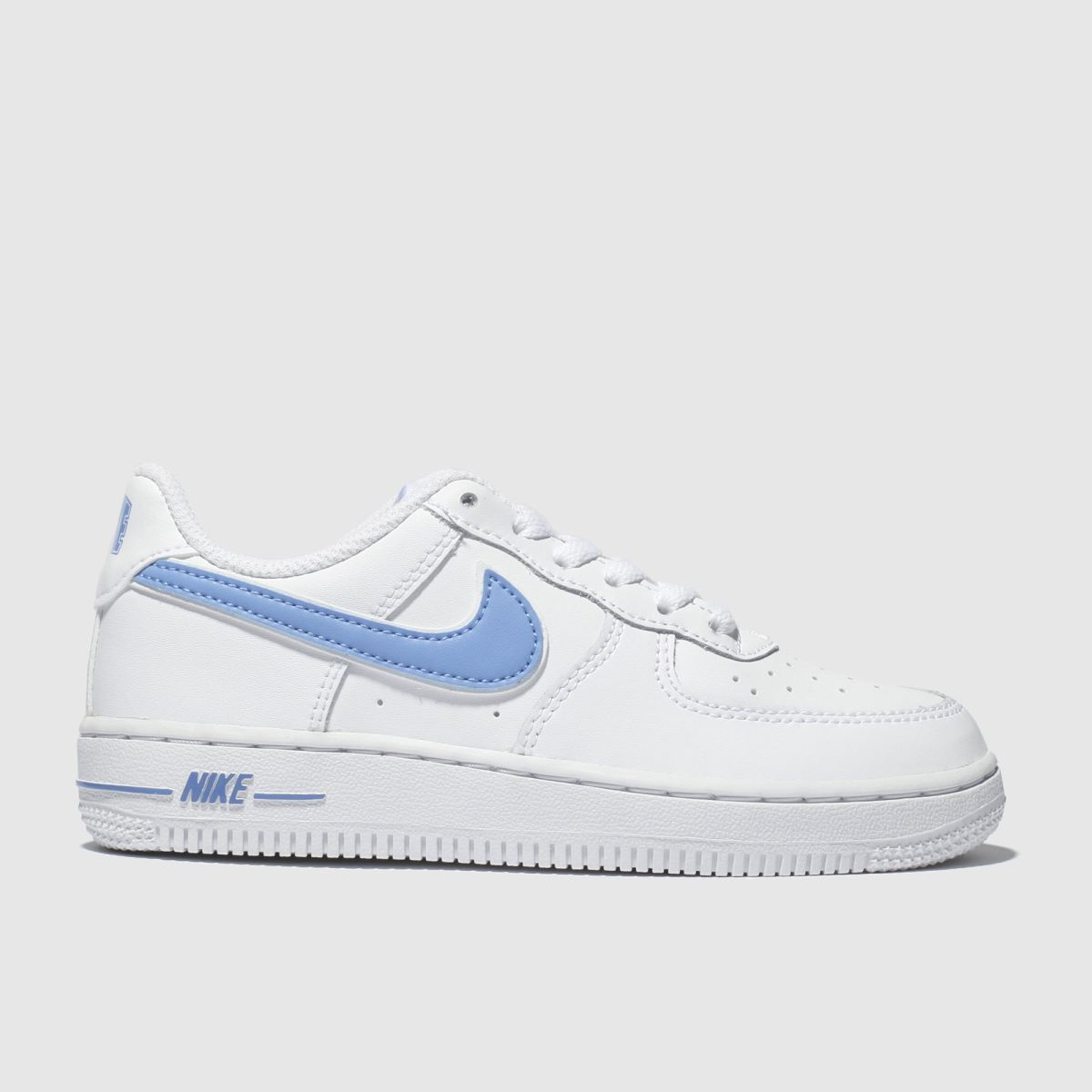 Nike White & Pl Blue Air Force 1-3 Trainers Junior