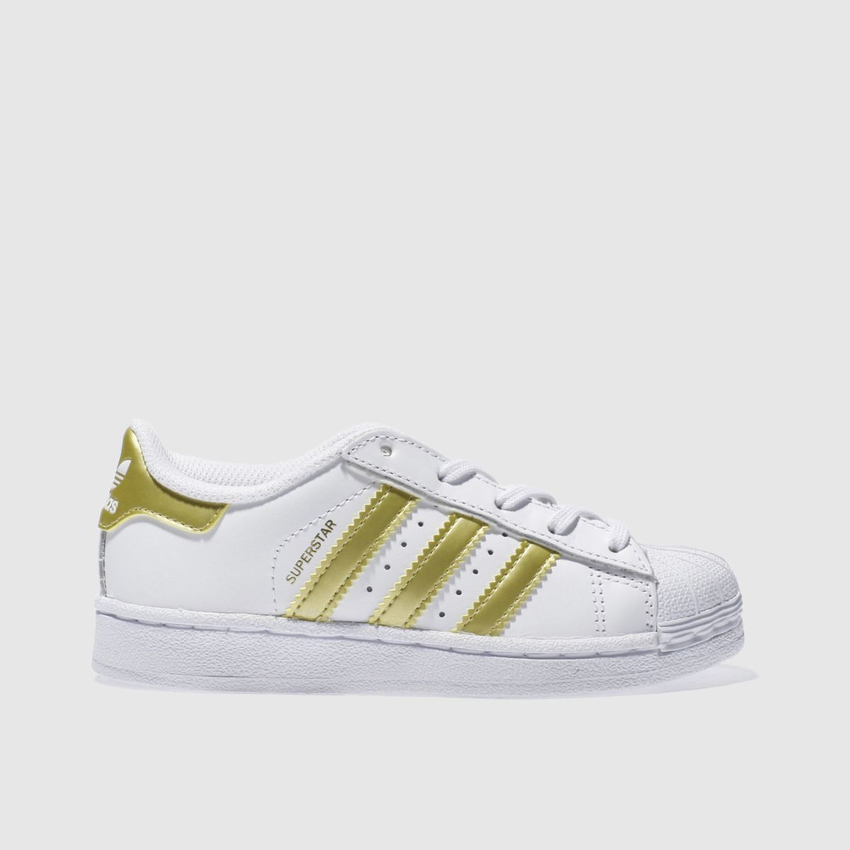 adidas white & gold superstar Junior Trainers