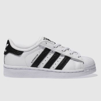 ADIDAS WHITE & BLACK SUPERSTAR JUNIOR TRAINERS