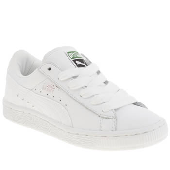 Unisex Puma White Basket Unisex Junior