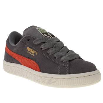 kids puma dark grey suede classic trainers