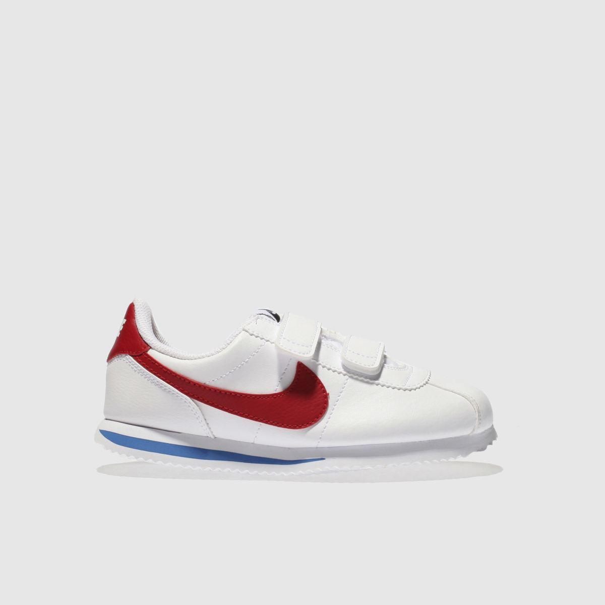 Nike White & Red Cortez Classic Trainers Junior