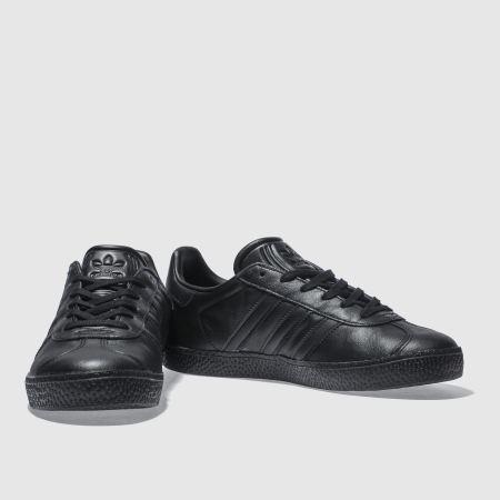 black leather adidas gazelle