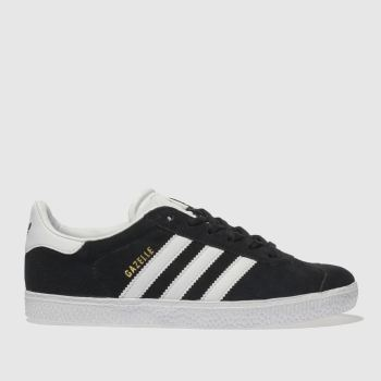 ADIDAS BLACK & WHITE GAZELLE YOUTH TRAINERS