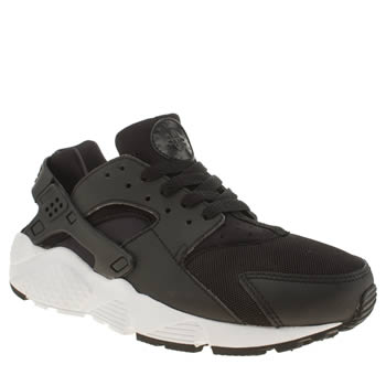 Unisex Nike Black & White Huarache Run Unisex Youth