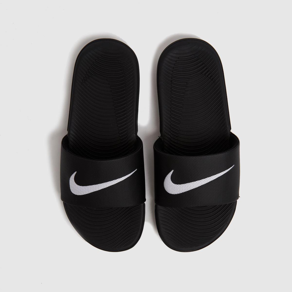 Nike Black & White Kawa Slide Trainers Youth