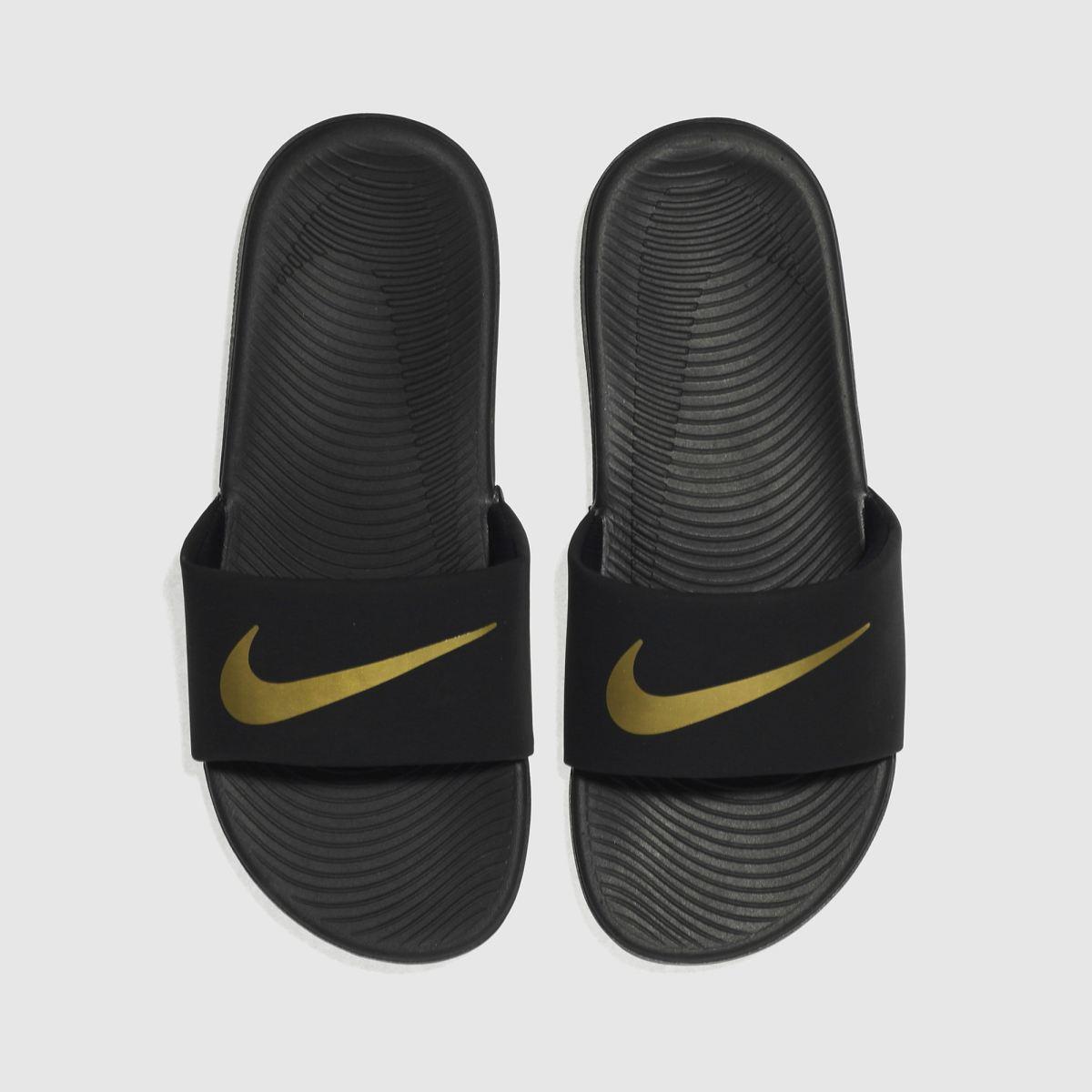 Nike Black & Gold Kawa Slide Youth Sandals